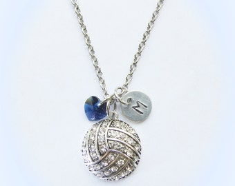Personalized Volleyball Necklace with Number or Initial Charm & Indigo Navy Blue Crystal Heart