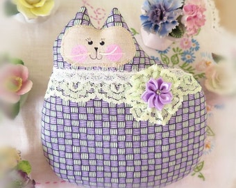 Cat Pillow Doll, Cloth Doll 7 inch, Lilac and Mint Green, Primitive Soft Sculpture Handmade CharlotteStyle Decorative Folk Art