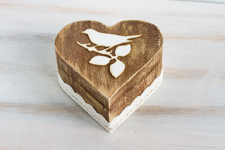Ring bearer box wedding ring box custom wedding box rustic for Custom made ring box