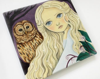 ON SALE Original Acrylic Painting on Canvas, Fantasy Art, Painting of a Sleeping Beauty with Brown Barred Owl