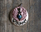 Dog Tag,  Pet Tag, Dog ID Tag, Pet ID Tag, Brass and Copper - Mixed Metal Pet ID with Rhinestone