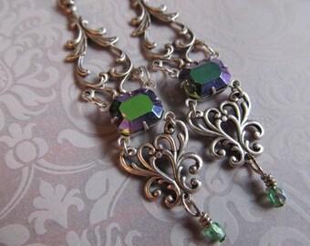 Art Nouveau Earrings Art Deco Earrings Sterling Earrings Steampunk Earrings Filigree Earrings Green Earrings Purple Earrings- Jewel Delight