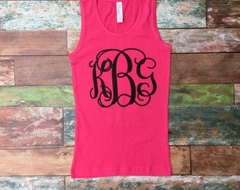 Monogrammed Tank tops, Monogrammed Gifts, Monogram tanks, Cheerleaders, Cheer Camp, Monogram Tank Top