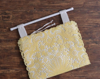 Tom Yellow shoulder bag - ON SALE 10% off pastel yellow rattan handle PVC handbag shoulder bag. Ready to ship