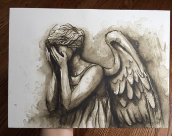 Weeping Angel Painting, Weeping Angel ORIGINAL Watercolor Painting, Sci-Fi Painting, Doctor Who, Don't Blink, Fan Art 9x12