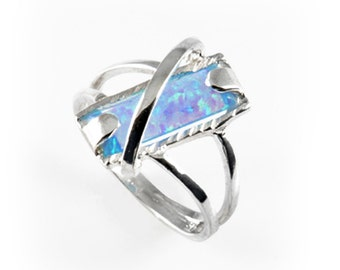 Fabulous Women's 925 Sterling Silver Ring With Fire Opal Stone