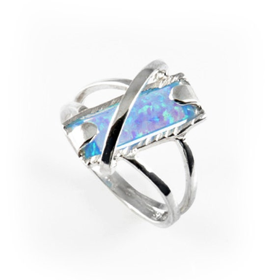 Handmade 925 sterling silver fire opal ring art fashion new style blue craft, silver opal ring, silver opal jewelry, blue stone silver ring