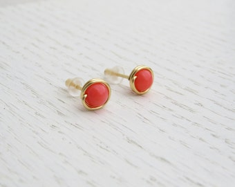 Summer SALE - Pink coral earrings, Coral stud earrings