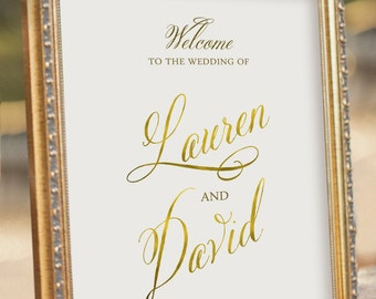 Faux Gold Foil Wedding Welcome Sign - printable PDF file