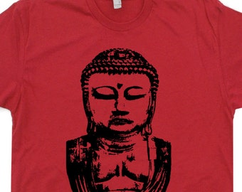 Buddha T Shirt Buddhist T Shirt Buddhism Statue Happy Buddha T Shirt Yoga Saying Fat Buddha Wisdom Tibet Mens and Womens Vintage T Shirts