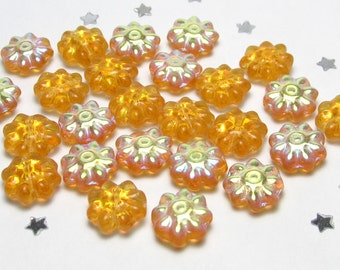 Czech Daisy Flower Bead 9mm - Golden Yellow Topaz Glass AB Aurora Borealis - 25 beads - Spring Flower Garden, Nature, Summer Sun