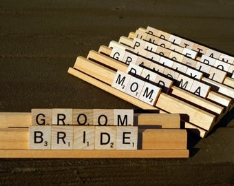 Scrabble Wedding Place Cards | Name Plate Wedding, Anniversary, Personalized Favor | Custom Order | Any Word/Name | *Up to 9 Letters Each*