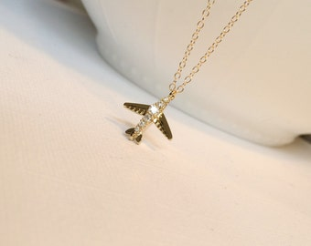 Gold Airplane Necklace, Tiny Gold CZ Airplane Necklace, Let's Fly, Time To Fly, Vacation, Graduation Gift, Trip