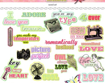 Digital romantic word art / Valentine's Day / instant download / printable / PDF and PNGS / digital scrapbooking embellishments / clip art