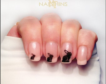 Bunny Nail Decals Easter Bunnies Silhouette Nail Wraps by NAILTHINS