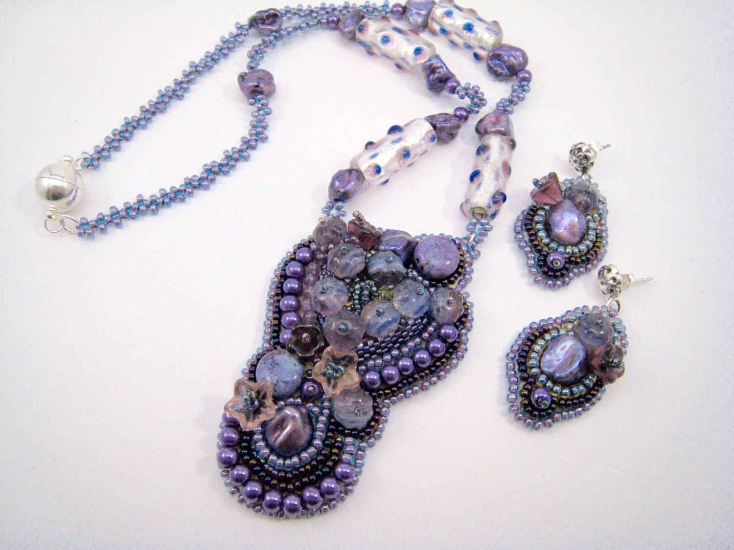 Beaded necklace with bead embroidery pendant purple by