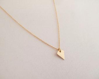 Tiny Gold diamond Necklace - Geometric Jewelry - Everyday Jewelry