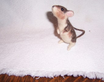 Needle felted life size wool mouse