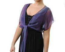 Purple -Teal Tie Front Silk Chiffon Shrug/ Bolero. Sizes XS - XL , 35 colors available