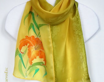 Hand painted silk scarf, Yellow floral silk scarf, Orange lilies on yellow olive, Handpainted artist silk scarf, Mother's Day gift