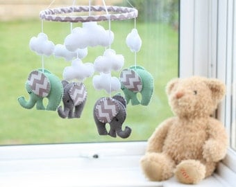 Baby Mobile -  Nursery Mobile - Mint Green  -  Green/Grey Mobile - Elephant Mobile - MADE TO ORDER