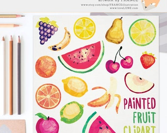 GET 3 FOR 2. Watercolor Fruit Clipart. Tropical Fruit Painted Clip Art. Apple, Banana, Cherry, Grape, Lemon, Lime, Orange, Strawberry, CA013