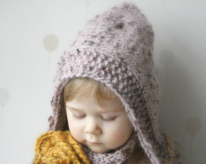 KNITTING PATTERN hood / hooded cowl set Salome with crochet flower (baby, toddler, child, adult sizes)