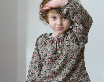 Toddler blouse in Liberty burwood - silk and wool Liberty of London - Boho blouse for girl