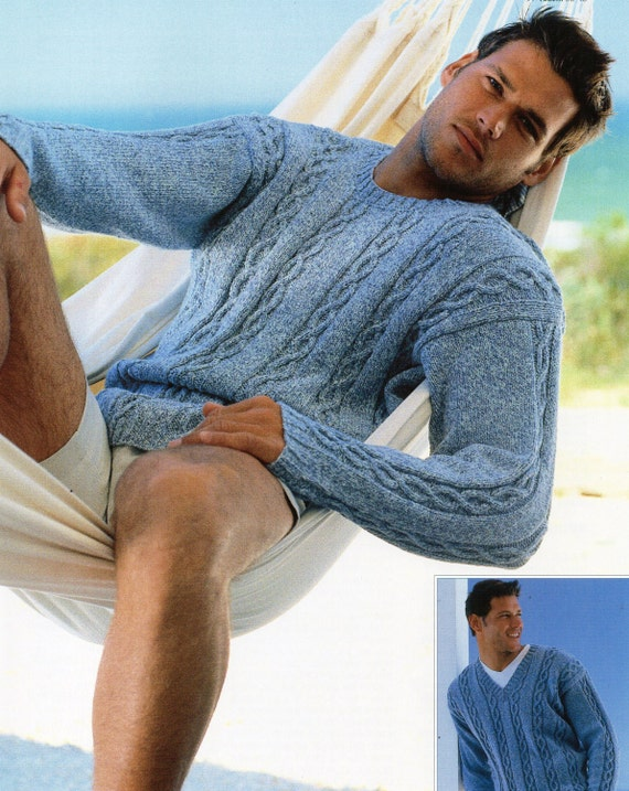 mens cable panel sweater knitting pattern round neck v neck