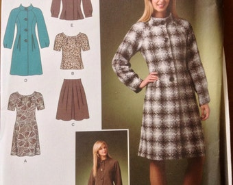 Simplicity 2764 - Banded Collar Dress or Top with Stand Up Collar Jacket or Coat - Size 4 6 8 10 12 Or 12 14 16 18 20