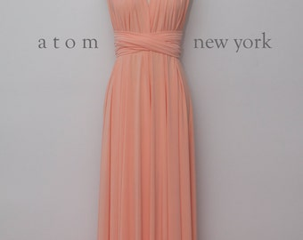 Peach LONG Floor Length Gown Maxi Infinity Dress Convertible Formal Multiway Wrap Bridesmaid Dress Evening Wedding Prom Party Transform