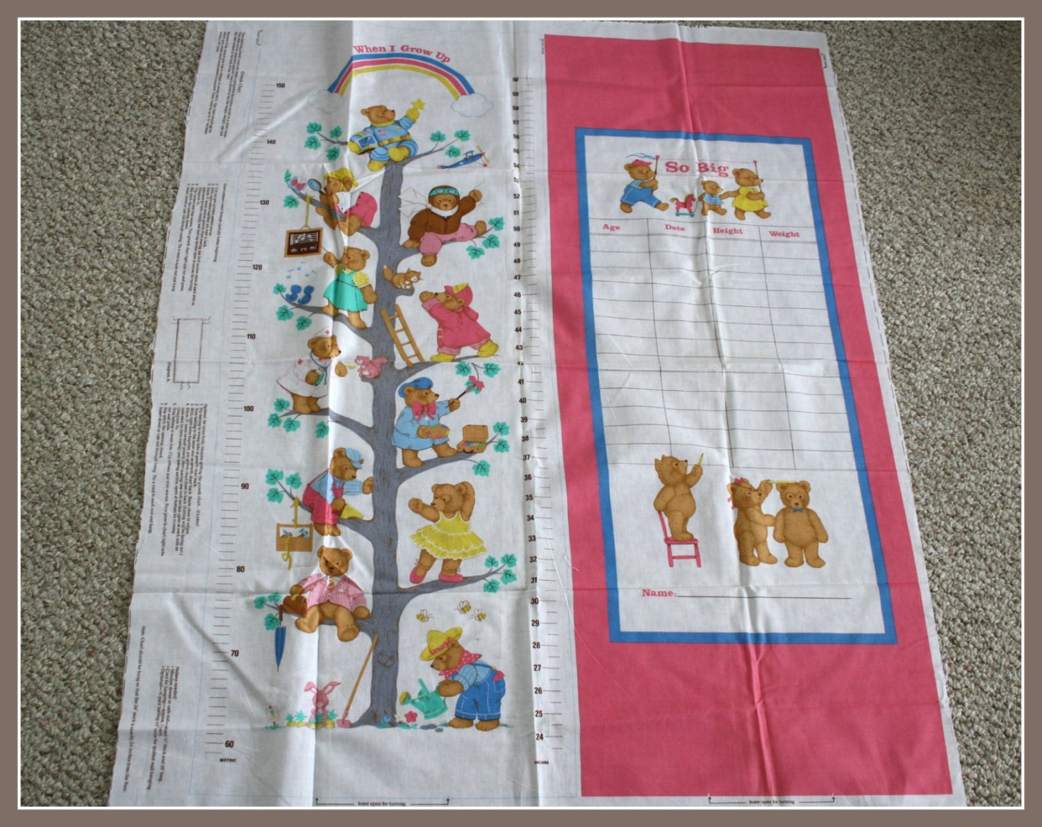 Growth chart fabric panel sewing pattern cut and sew record girls growth chart fabric panel sewing pattern cut and sew record girls height weight age and date diy growth chart with bear motif geenschuldenfo Images