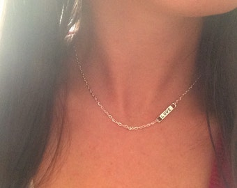 Silver Love Bar Necklace, Silver Necklace, Dainty Necklace, Small Love Necklace, Valentine's Day Gift, Sterling Silver Chain, Silver Bar