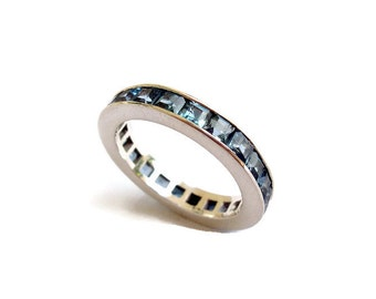Eternity Ring, Sterling Silver Ring, Ring for Women, Pale Blue Jewelry