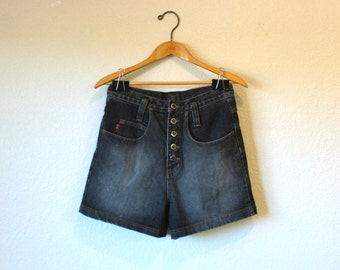 80s, 90s LEI Riding Wear, High Waisted, Faded Black, Five Button, Denim Jean Shorts, Size S