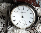 Antique Coin Silver Case Waltham Pocket Watch 1878 by avintageobsession on etsy...20% Discount