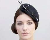 Black Hatinator, Designer Millinery Cocktail Hat, Racing Fashion Couture Hat - Sassi