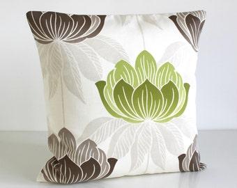 Green Cushion Cover, Green Pillow Sham, Cotton Pillow Cover, Decorative Pillow Cover, Pillow Slip, Sofa Pillows - Lotus Lime