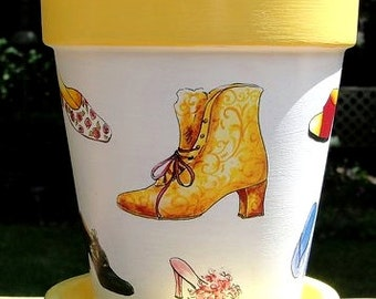 Shoe Lover Flower Pot and Planter, Painted