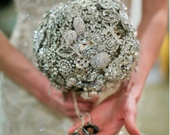 Brooch Bouquet - Custom Large Art Deco Crystal and Marcasite Jewelry - 1920s Deco Nouveau Antique Pieces Handmade