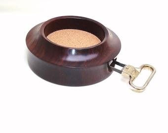 Vintage Wine Holder | Cork Puller | Wooden Coaster | Italian Wine Opener | Cocobolo Hardwood Bottle Holder | Barware Set