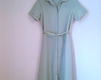 Vintage button dress with belt - mint green