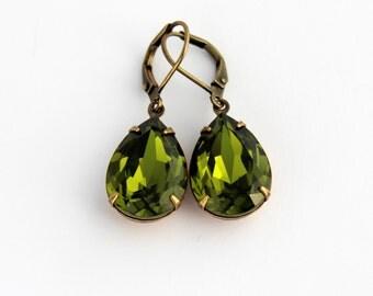 Swarovski Olivine earrings, Swarovski earrings, green earrings, teardrop earrings, olive green earrings, drop earrings, Fall wedding SOD03