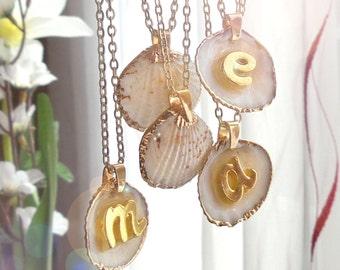 Seashell necklace, custom initial necklace, summer boho necklace, personalized monogram necklace