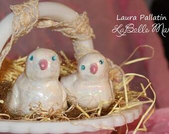White Ceramic Birds, Love Birds, Clay Love Bird Topper, Ceramic Sculpture, handmade ceramic birds, by Laura Pallatin of LaBelle Mariposa