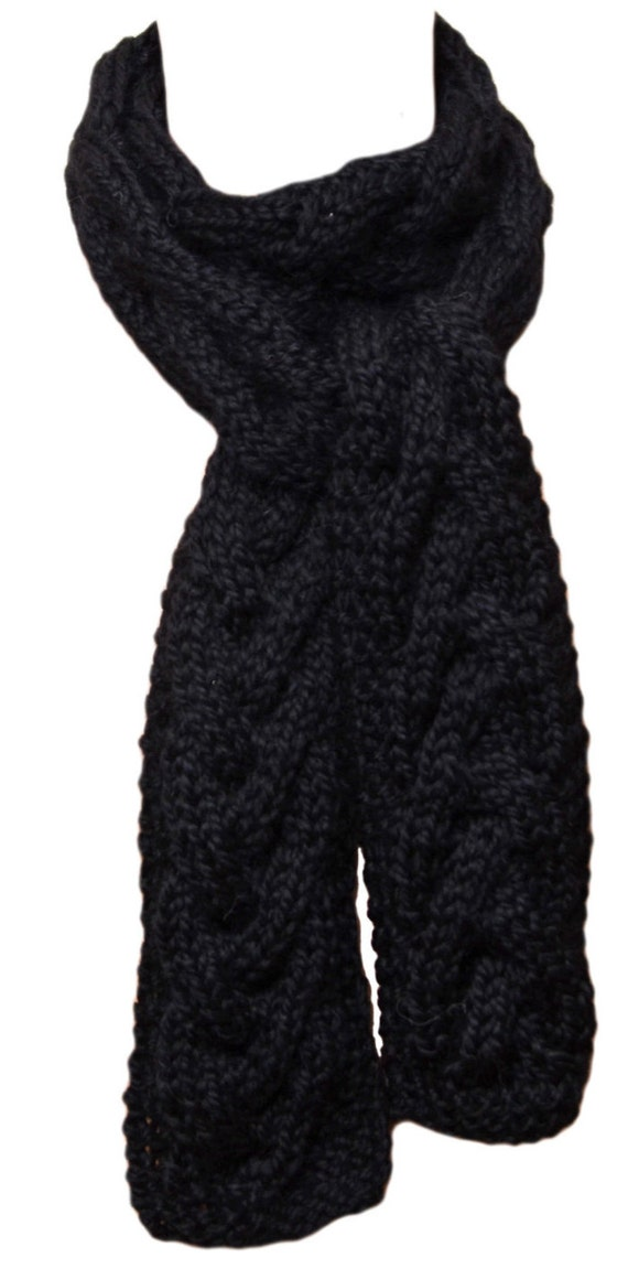 Hand Knit Scarf Black Cable Baby Alpaca by StudioatRedTopRanch