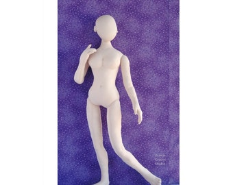 Download pattern 24 inch cloth doll 60cm woman mannequin. Posable soft doll. DIY big fashion doll instructions. Soft sculpture woman.