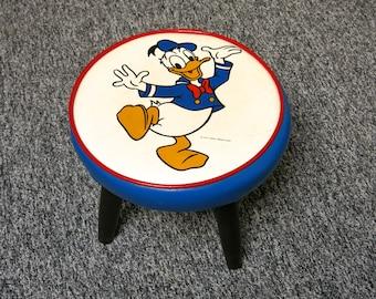Disney Donald Duck Vinyl Child's Cushioned Foot Stool 1960s