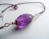 LARGE AMETHYSTLEATHER Gemstone Necklace  All Sterling Silver   Boho Necklace  Purple  Necklace  High Grade Amethyst Crystal