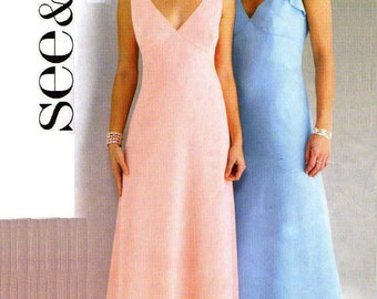 PLUS SIZE Special Occasion Dress Sewing Pattern, UNCUT, Easy - 2004 Butterick See and Sew 4163, Size 18 20  22  -  Sleeveless, V- Neck